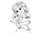Disegno di Mamma con il figlio da colorare