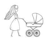 Disegno di  Mamma con passeggino da colorare