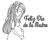 Disegno di Mamma incinta il giorno della madre da colorare