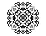 Disegno di Mandala cuori arabi da colorare