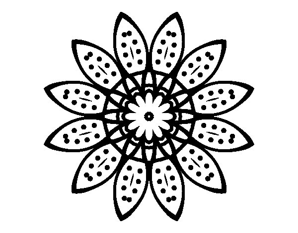 Disegno Di Rosa Con Foglie Da Colorare Acolore Com: Disegno Di Mandala Fiori Con Petali Da Colorare