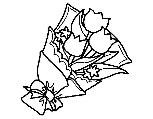 Mazzo Di Fiori Da Colorare: Disegno Di Mazzo Di Tulipani Da Colorare
