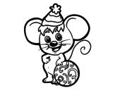 Disegno di Mouse con il cappello di Natale da colorare