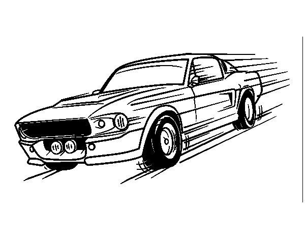 Disegno di Mustang retrò da Colorare