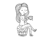 Disegno di Ora del tè da colorare