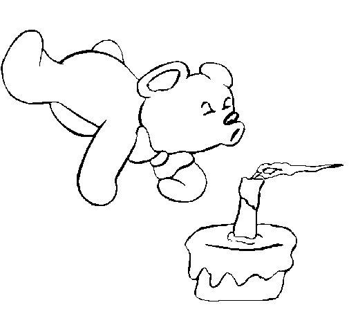 Disegno di orsacchiotto che spegne la candelina da - Orsacchiotto da colorare in ...