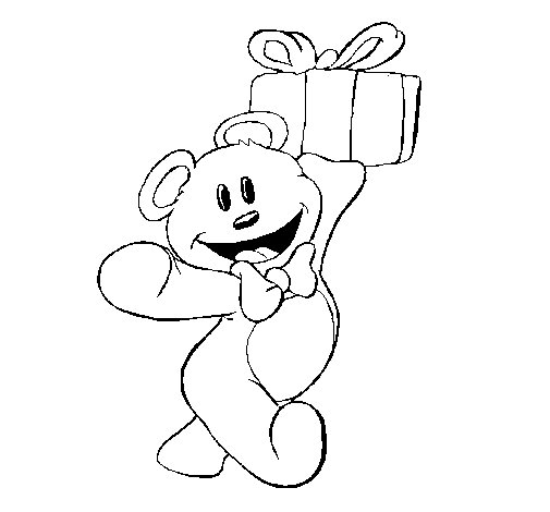 Disegno di orsacchiotto con un regalo da colorare - Orsacchiotto da colorare in ...