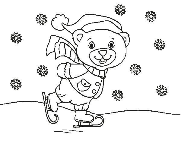 Disegno di orsacchiotto pattinaggio di natale da colorare - Orsacchiotto da colorare in ...