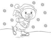 Disegno di Orsacchiotto pattinaggio di Natale da colorare