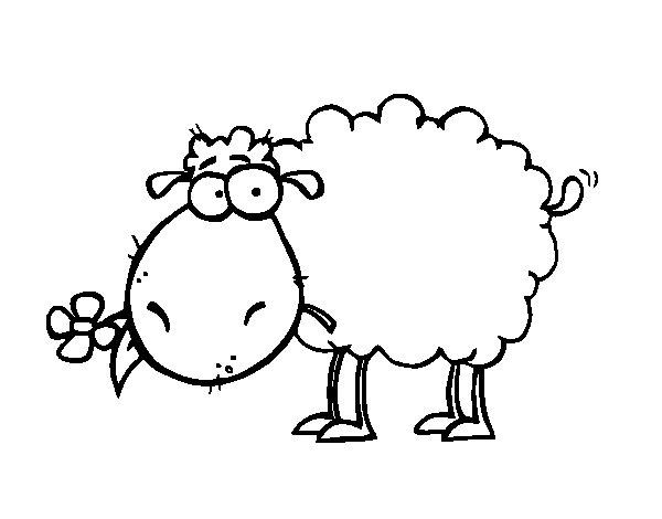 Disegno di pecora con fiore da colorare - Pagine da colorare per pecore ...
