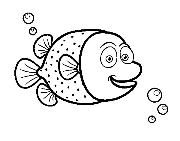 Disegno di pesci palla di puntini bianchi da colorare for Pesce palla disegno