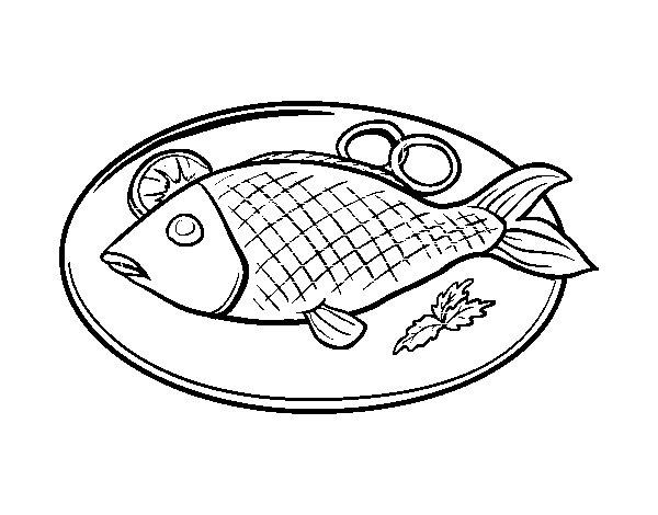 Disegno di piatto di pesce da colorare for Immagini di pesci da stampare