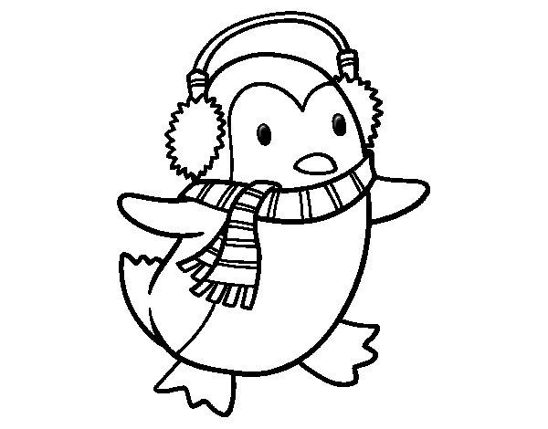 Disegno di pinguino con la sciarpa da colorare for Pinguino da colorare