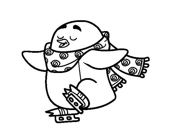 Disegno di Pinguino pattinaggio su ghiaccio da Colorare