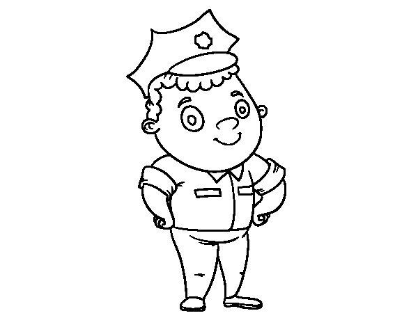 Disegno di polizia ufficiale da colorare - Polizia ufficiale di polizia da colorare foglio da colorare ...
