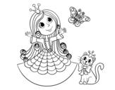 Dibujo de Principessa con il gatto e la farfalla