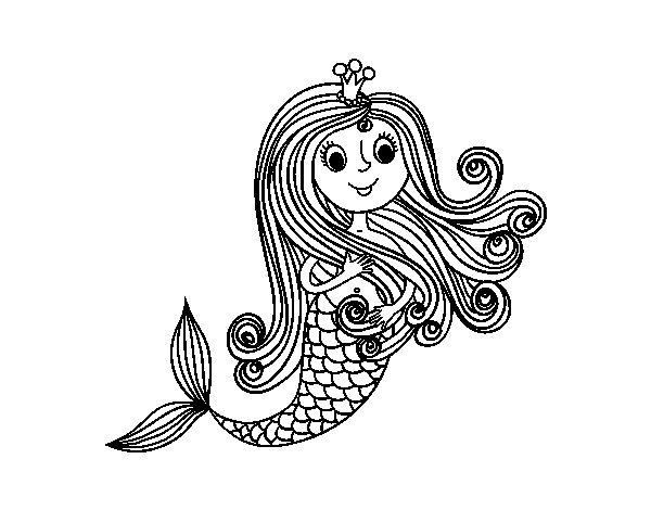 Disegno di principessa sirena da colorare - Sirena libro da colorare ...