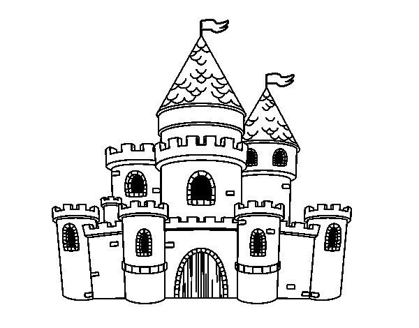 Disegno di principesse castello da colorare for Disegni casa castello
