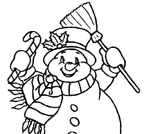 Disegno di pupazzo di neve con la sciarpa da colorare - Pupazzo di neve pagine da colorare ...