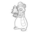 Disegno di Pupazzo di neve con l'albero di Natale da colorare