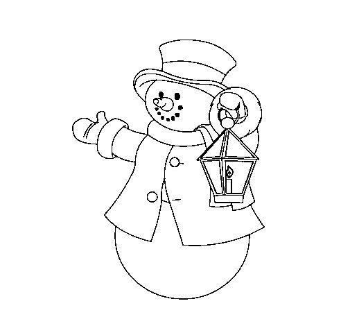 Disegno di pupazzo di neve iii da colorare - Pupazzo di neve pagine da colorare ...