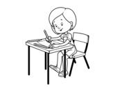 Disegno di Ragazza alla sua scrivania da colorare