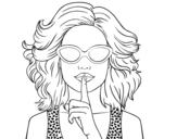 Disegno di Ragazza con gli occhiali da sole da colorare