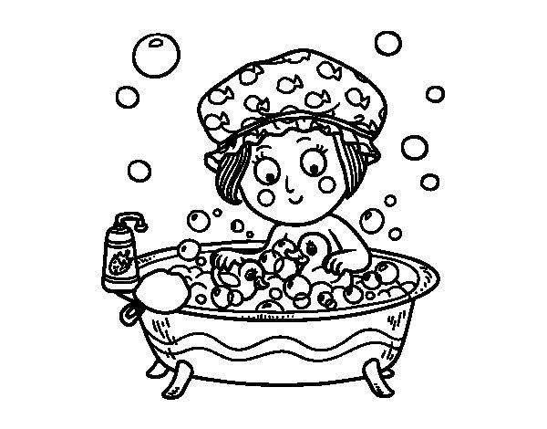 Disegno di ragazza prendendo un bagno da colorare for Disegno bagno online