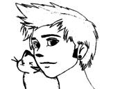 Disegno di Ragazzo con il gatto da colorare