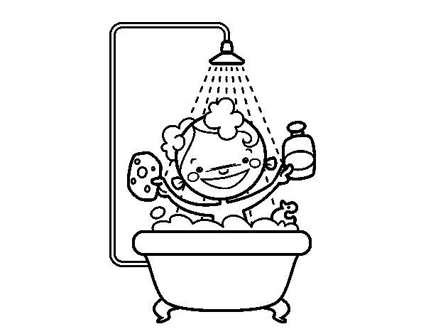 bagno Doccia disegno : Disegno di Ragazzo sotto la doccia da Colorare - Acolore.com