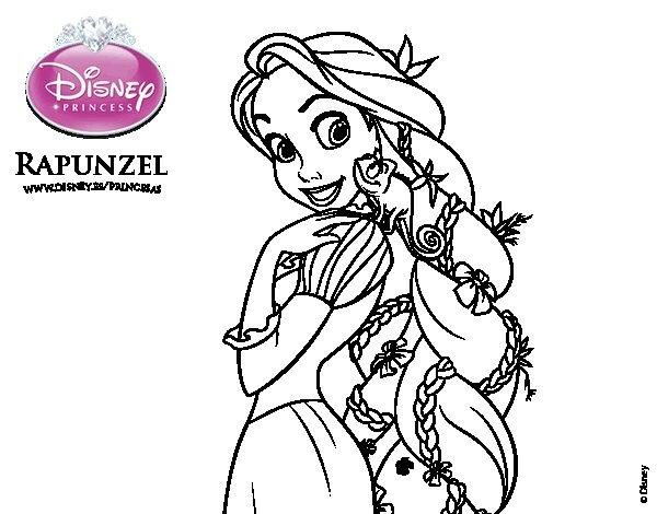 Disegno di Rapunzel - Rapunzel e Pascal da Colorare ...