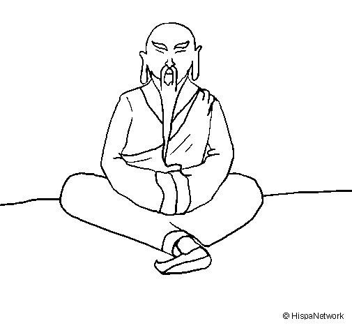 Disegno di saggio cinese da colorare for Salvia da colorare