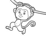 Disegno di Scimmia che pende da un ramo da colorare
