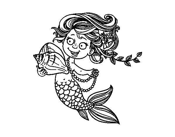 Disegno di sirena con conchiglia e perle da colorare - Sirena libro da colorare ...