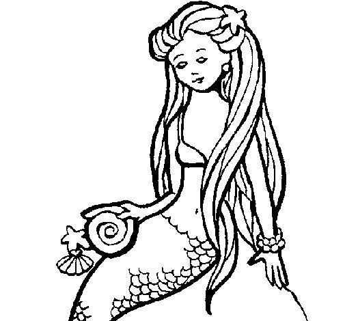 Disegno di sirena con la conchiglia da colorare - Sirena libro da colorare ...