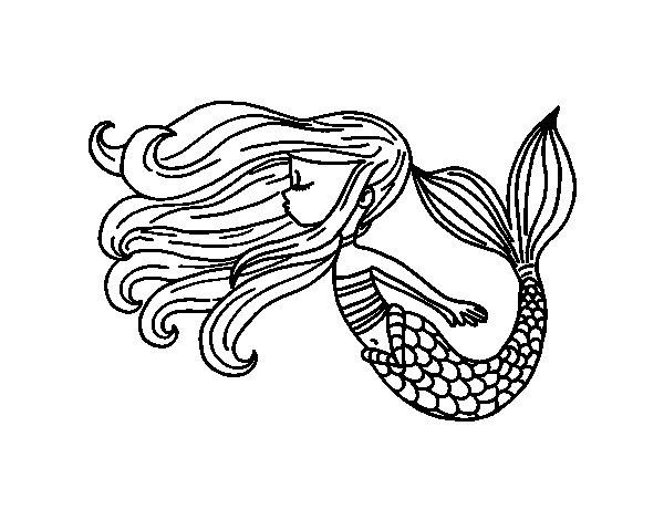 Disegno di sirena galleggiante da colorare - Sirena libro da colorare ...