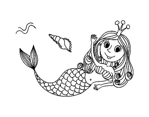 Disegno di sirena salutando da colorare - Sirena libro da colorare ...