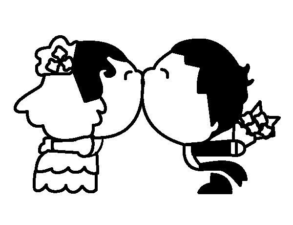 Disegno di sposi bacio da colorare for Disegni sposi stilizzati