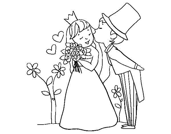 disegno di sposi principi da colorare
