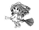Disegno di Strega con la scopa da colorare