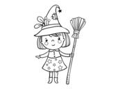 Disegno di strega della bambina Halloween da colorare