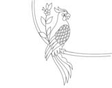 Disegno di Tatuaggio di pappagallo da colorare
