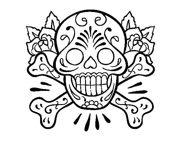 Disegno di tatuaggio di teschio da colorare for Teschi da disegnare