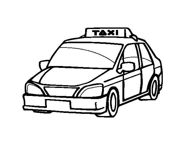 Disegno di Un taxi da Colorare