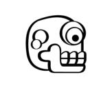 Disegno di Un teschio azteco da colorare