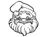 Disegno di Una faccia di Babbo Natale da colorare