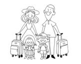 Disegno di Una famiglia in vacanza da colorare