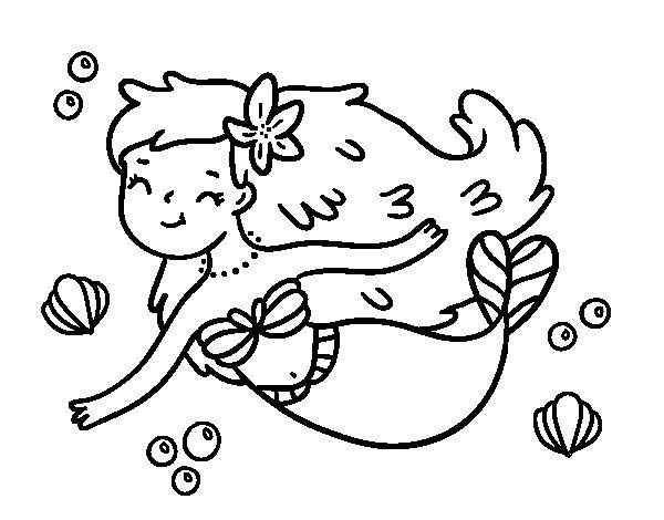 Disegno di una sirena felice da colorare - Sirena da colorare fogli da colorare ...