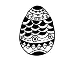 Disegno di Uovo di Pascua in stile giapponese da colorare