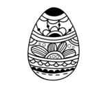 Disegno di Uovo di Pasqua con stampa floreale da colorare